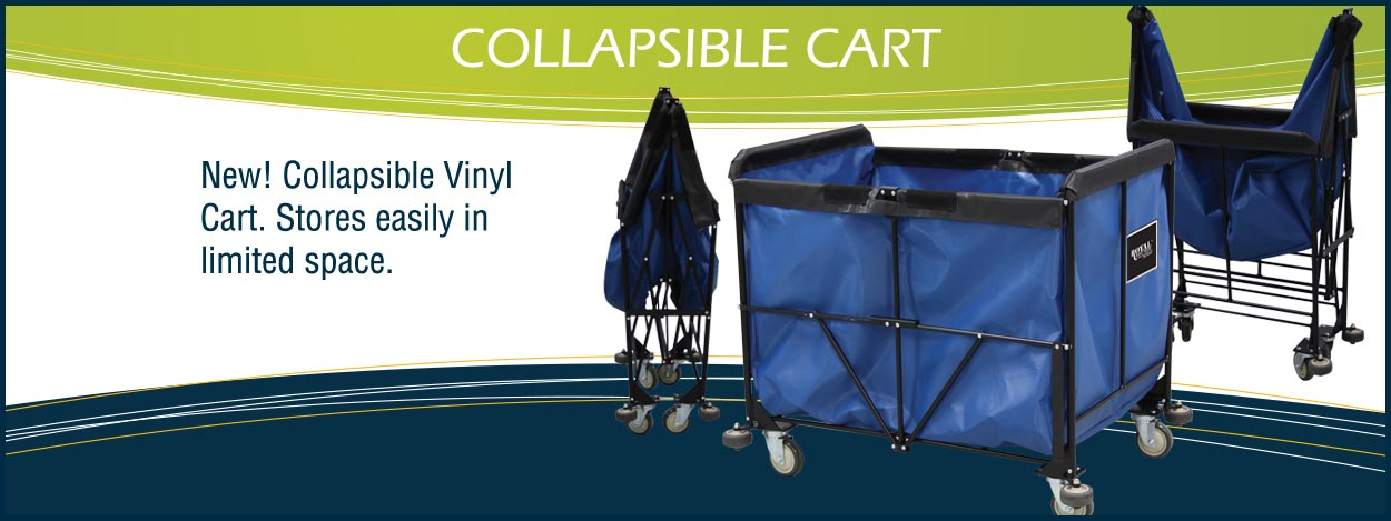 New! Collapsible Vinyl Cart stores easily in limited space.